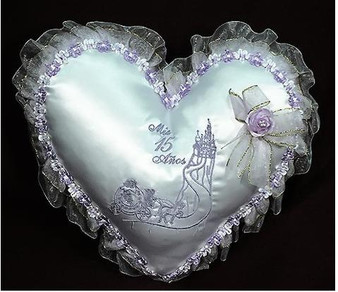 Heart Quinceanera Pillow Set, two pillows
