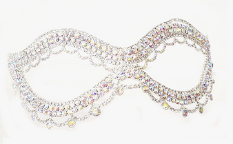 Silver Rhinestone  Mask - 7.5 inches