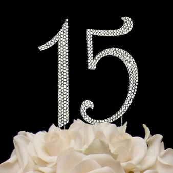 Sweet 15 Rhinestone Cake Topper Set