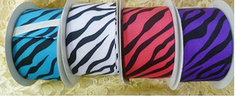 Zebra Print Grosgrain Gift Ribbon Pack of 5 Spools