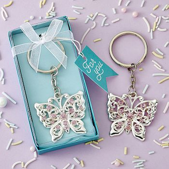 Silver Butterfly design metal key change favor (as low as $ 1.39)