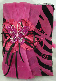 Zebra and Fuchsia Quinceanera Bible