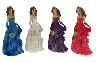 "9""  Large Quinceanera Figurine with light, available in many colors"