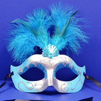 Mardi Gras Glitter Feather Masquerade Masks