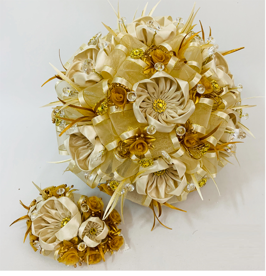 Gold Quinceanera Flower Bouquet with Headpiece, available in all colors