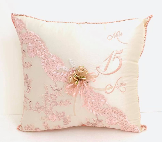 Pink Rose Quinceanera  Pillows Set. Two Pillows