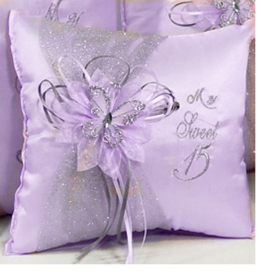 Lilac Quinceanera Pillow Set. Two Pillows