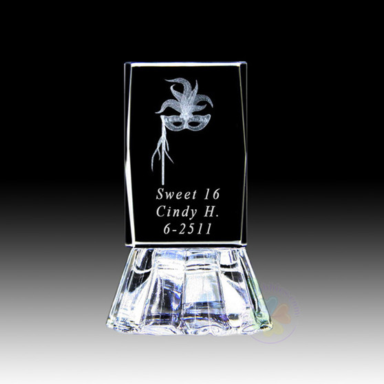 """2.5"""" Lighted Crystal Quinceanera Mask Design Favor, personalized"""