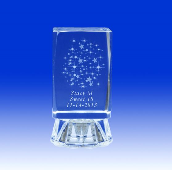 """2.5"""" Lighted Crystal Quinceanera Stars Design Favor, personalized"""