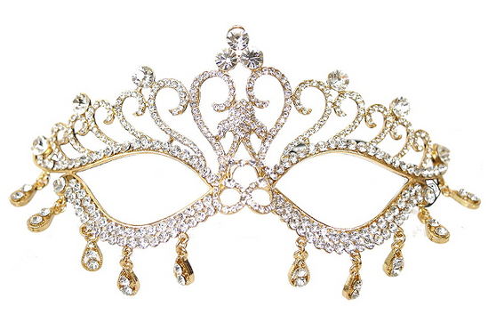 Gold Mask with Dangling Crystals