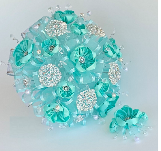 Aqua Quinceanera Flower Bouquet and Headpiece