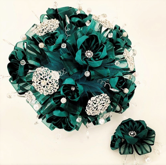 Hunter Green Quinceanera Flower Bouquet and Headpiece