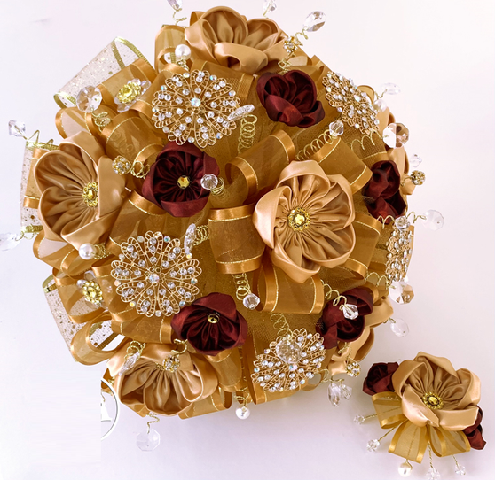 Gold and Wine Quinceanera Flower Bouquet and Headpiece