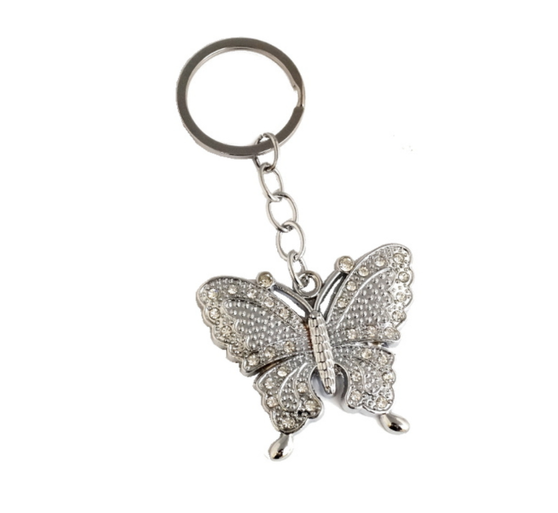 Silver Butterfly Crystal Rhinestone Keychain - Pack of 12