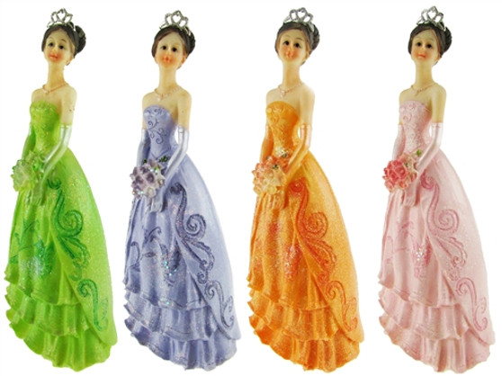 """Princess Quinceanera Figurines, 7.5"""" available in many colors"""