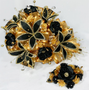 Black and Gold Quinceanera Flower Bouquet with Headpiece