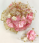 Rose Pink and Gold Quinceanera Flower Bouquet