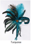 Feather Masquerade Mask - Turquoise