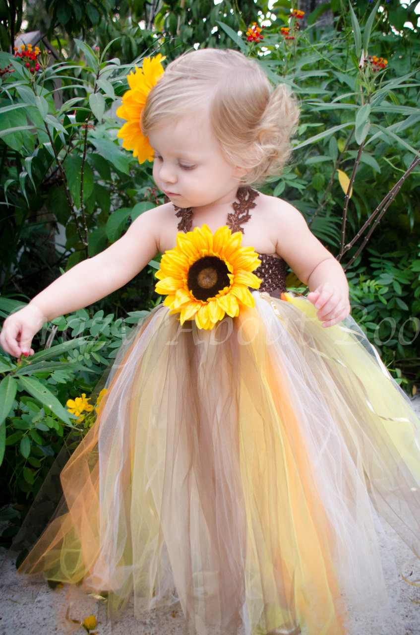 ecf355fae8fa3 Lil' Pumpkin Thanksgiving Fall Sunflower Tutu Dress