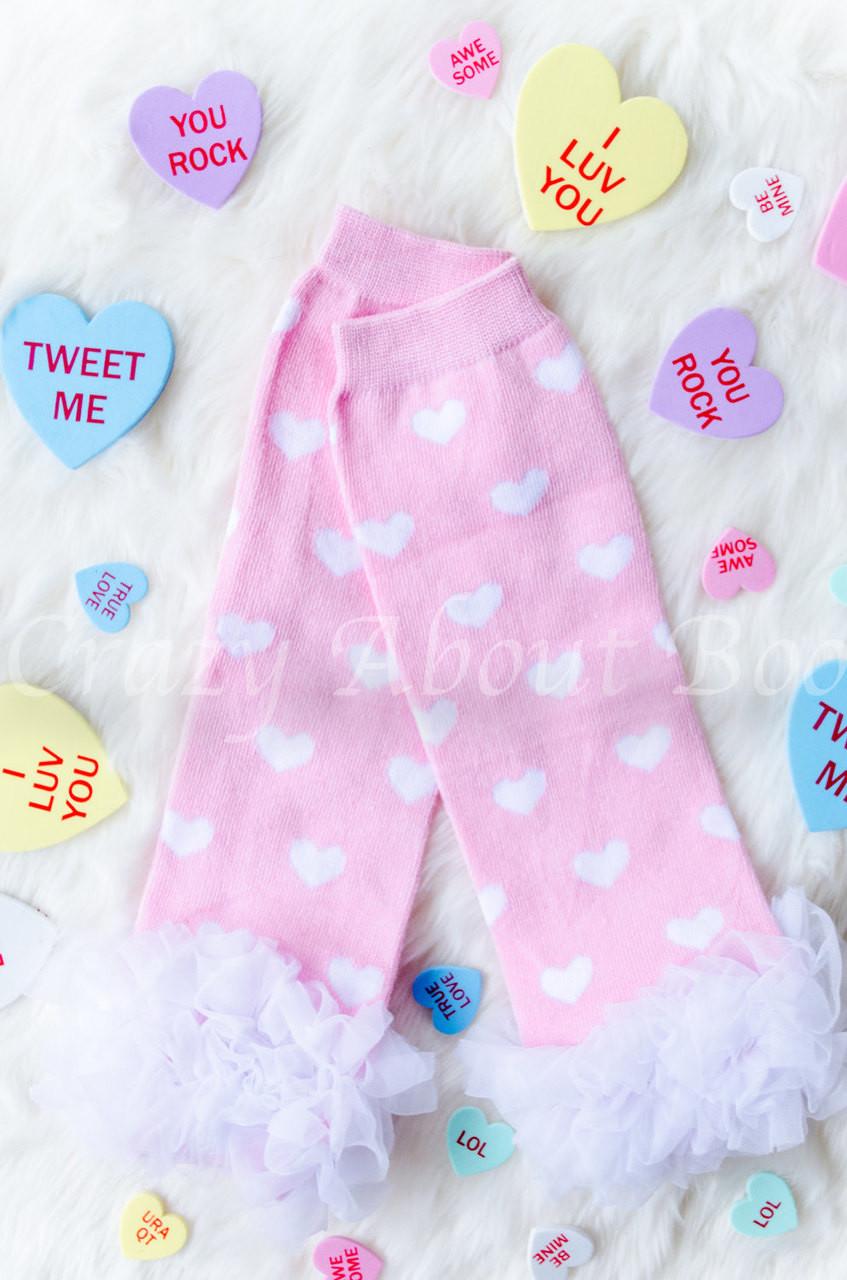 043b352e185 Pink   White Heart Ruffle Baby Girl Leg Warmers - Crazy About Boo