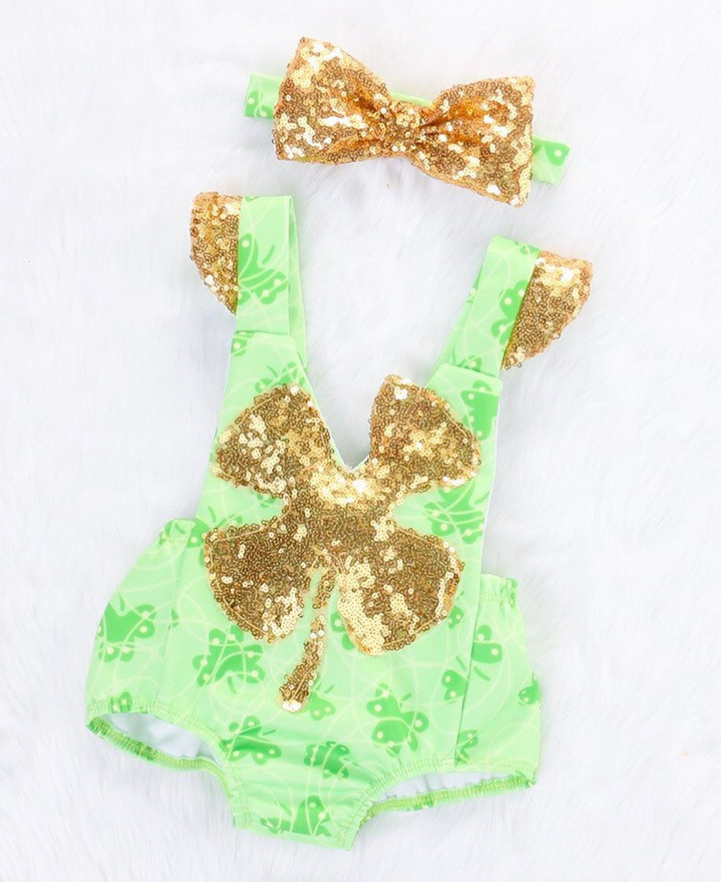 41bae2e4279 St. Patrick s Day Green and Gold Sequin Baby Romper Sunsuit and Headband  SET - front