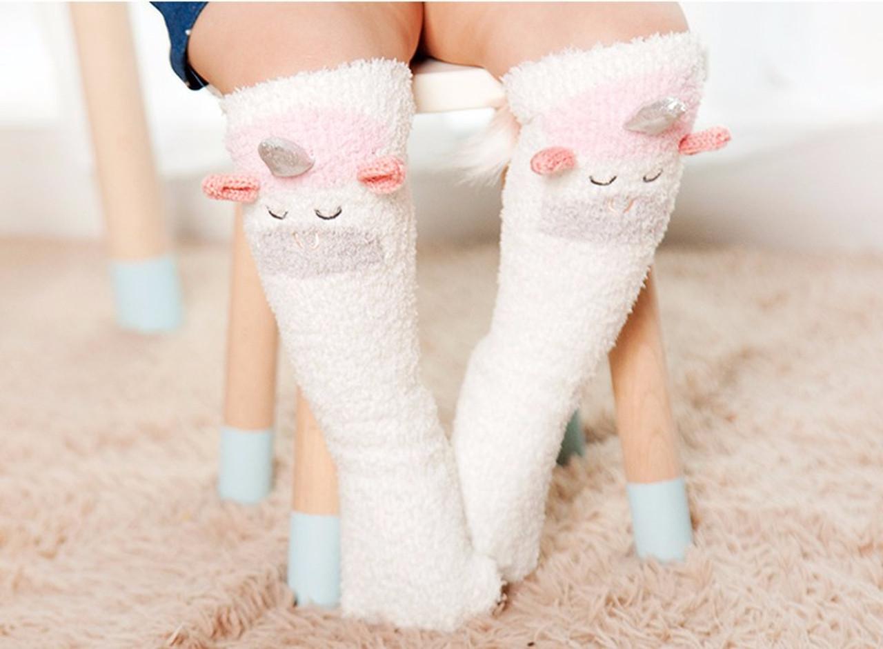 c24e4257ae6 Fuzzy Unicorn Knee-High Socks for Baby - full