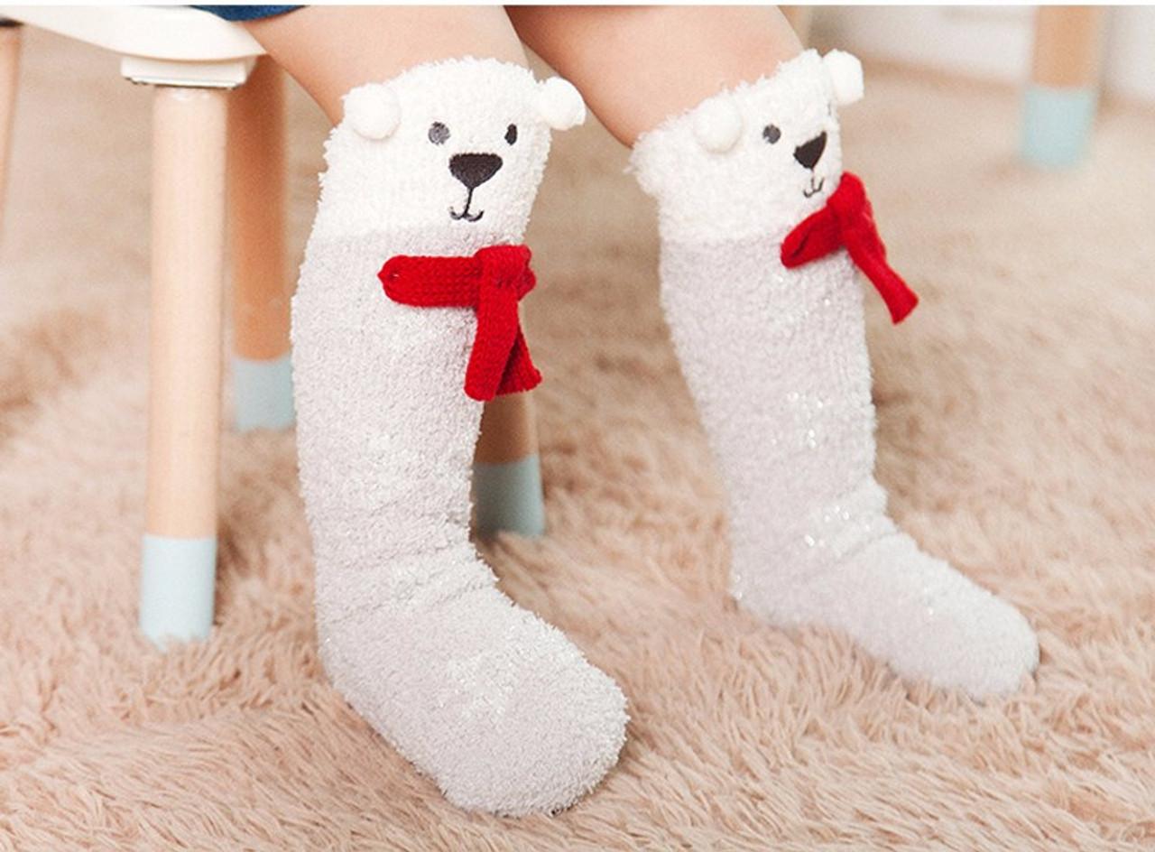 21b7985a206 Fuzzy Polar Bear Knee-High Socks for Baby