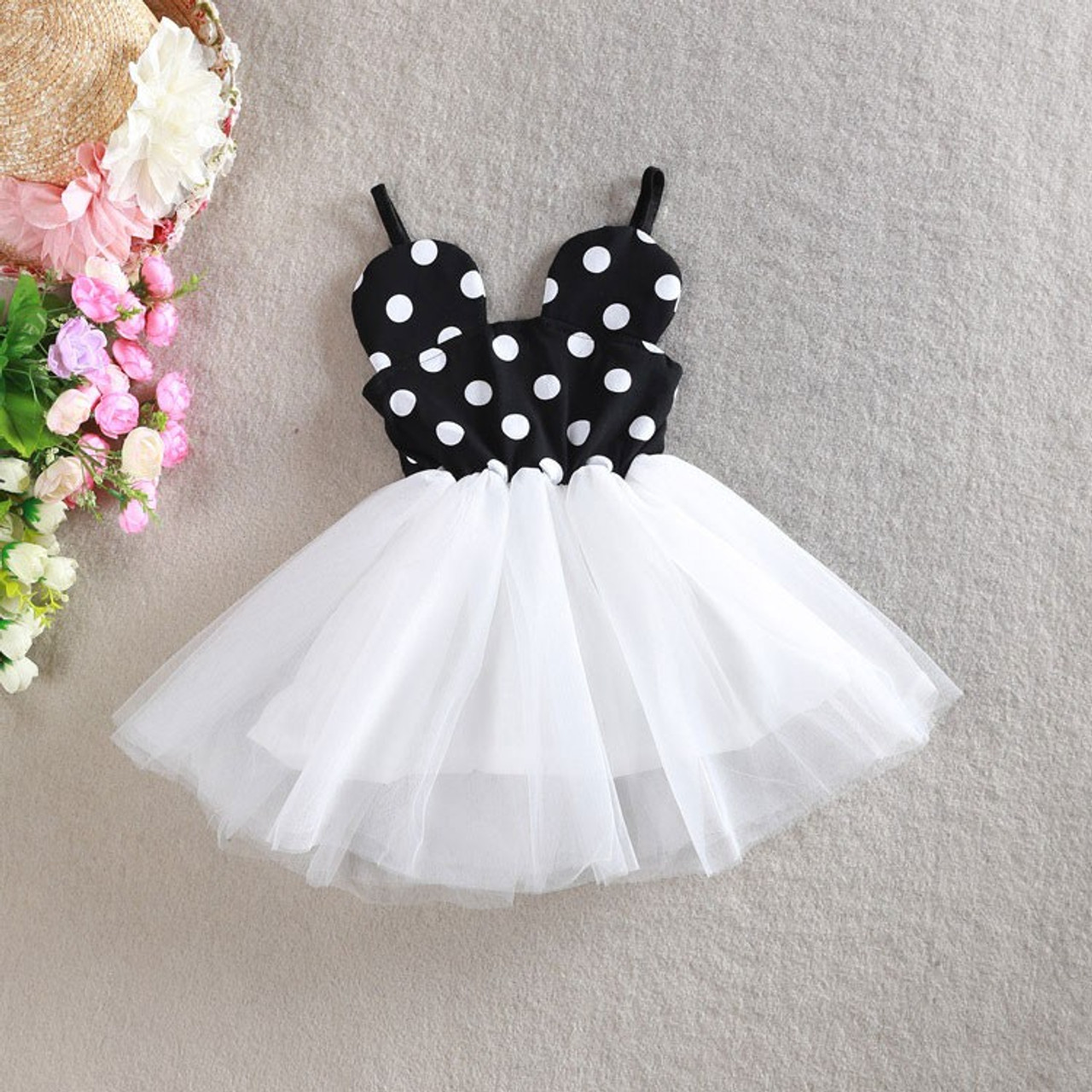 Minnie Mouse Inspired Black White Polka Dot White Birthday Party Dress