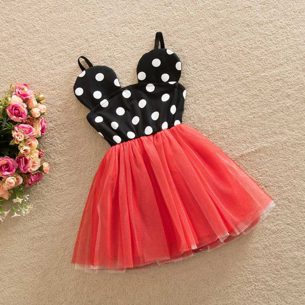 Minnie Mouse Inspired Black White Polka Dot Red Birthday Party Dress