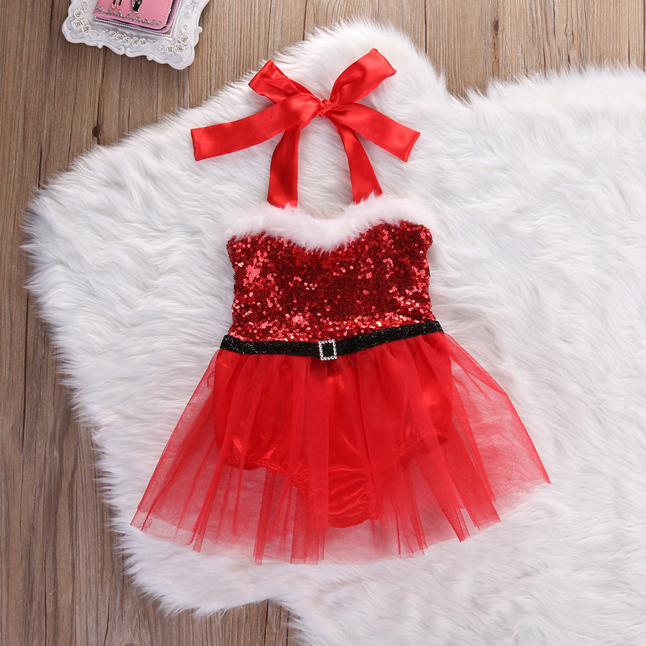 6054200282c3 Lil Miss Claus Santa Baby Christmas Holiday Red Romper