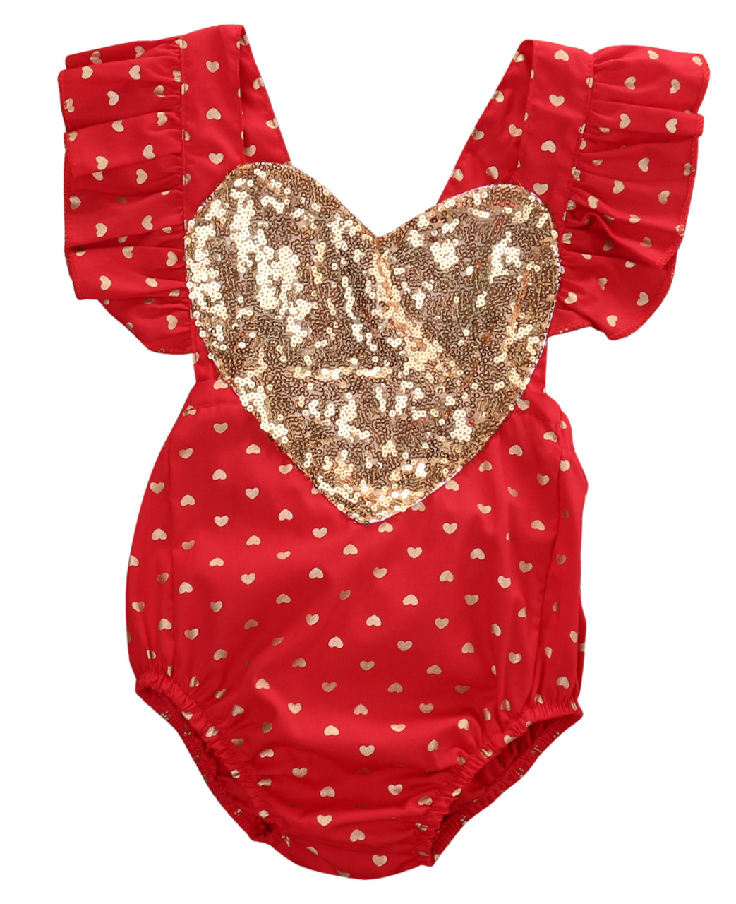 e1c048343852 Baby Valentine s Day Gold Sequin Heart Romper - Red - front