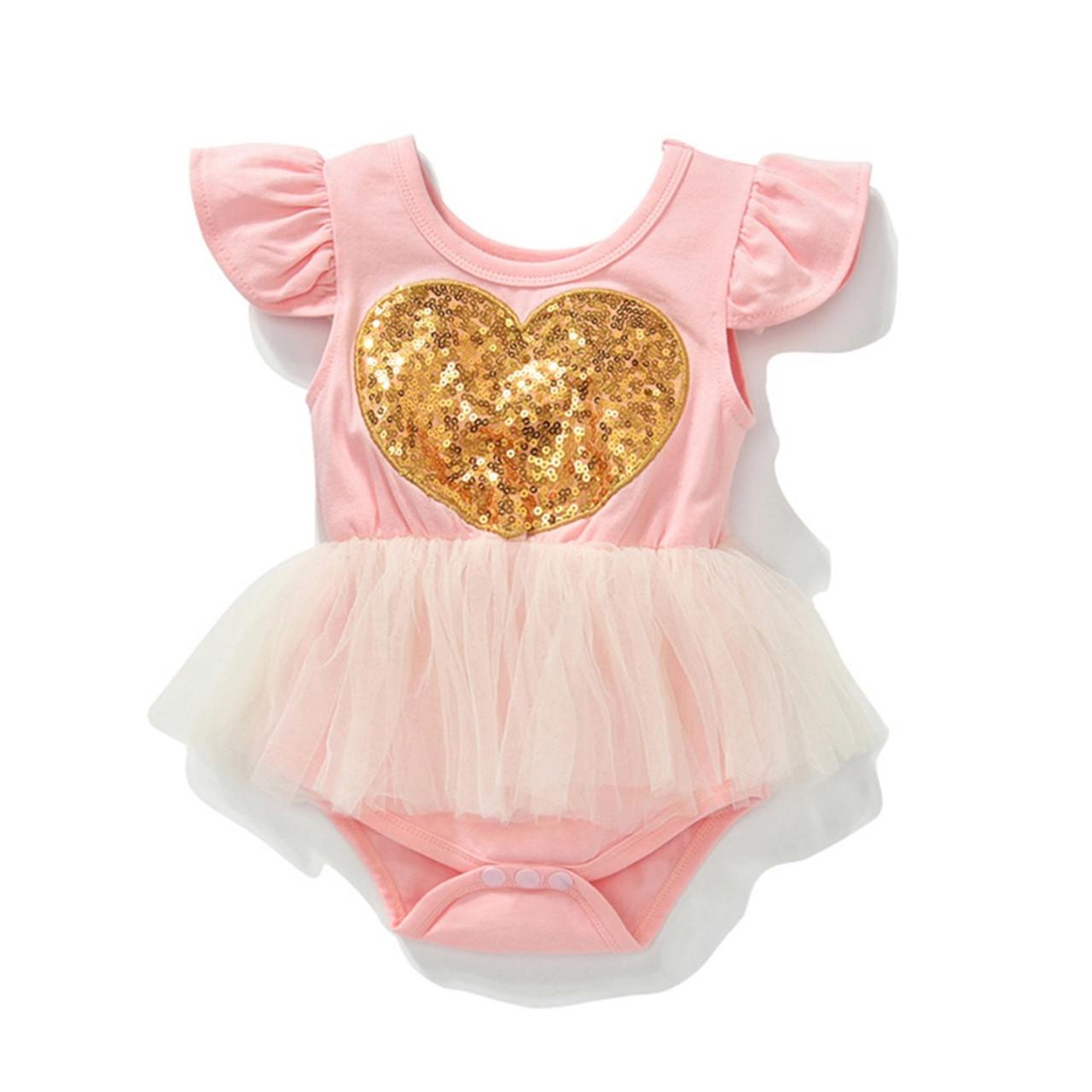 0b1ef875ca04 Baby Girl s Birthday or Valentine Pink   Gold Heart Tutu Romper - front