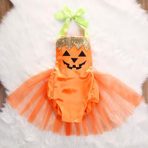 871f00458a7 Little Pumpkin Jack-o-Lantern Halloween Tutu Romper - front