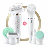Epilator, Silk·épil 9 Flex, Beauty Set, White/Gold with 8 extras including body massage pad attachment and FaceSpa device, wet and dry usage, SES 9300 3D