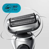 Electric Shaver, Series 7, Silver with beard trimmer attachment, travel case, and charging stand, 7027cs