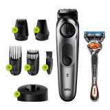 Beard Trimmer 7 for Face and Hair, Black/Grey with precision dial, and Gillette Fusion5 ProGlide razor, BT7240