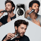 Beard Trimmer 5 for Face and Hair, Black/Silver with precision dial, and Gillette Fusion5 ProGlide razor, BT5260