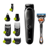 All-in-One trimmer 3 for Face, Hair, and Body, Black/Grey 8-in-1 styling kit with Gillette Fusion5 ProGlide razor, MGK3260