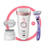 Epilator, Silk·épil 9, Rose Gold with 7 extras including shaver head, trimmer cap, and Gillette Venus Swirl razor, SES 9-870