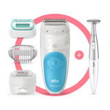 Epilator, Silk·épil 5, Blue with 5 extras including shaver head, trimmer cap, beginner cap, and bikini trimmer, SES 5-810