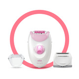 Epilator, Silk·épil 3, Pink with 2 extras including shaver head and trimmer cap, SE 3-270