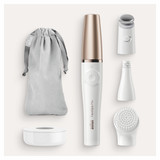 Facial Epilator, FaceSpa Pro, White/Bronze with cleansing brush and skin toning attachments, FE-911