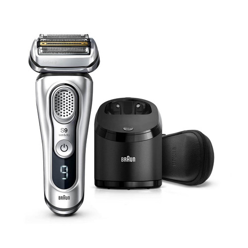 Electric Shaver, Series 9, Silver with Clean and Charge station and leather travel case, 9390cc