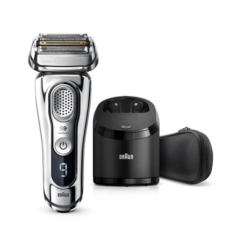 Electric Shaver, Series 9, Chrome with Clean and Charge station and travel case, 9376cc