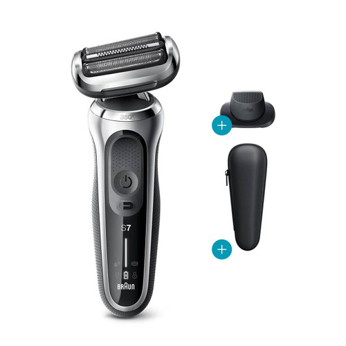 Electric Shaver, Series 7, Silver with precision trimmer attachment and travel case, 7020s