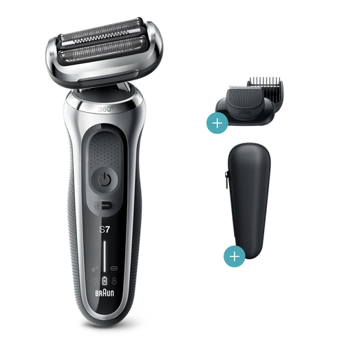 Electric Shaver, Series 7, Silver with precision trimmer, beard trimmer attachments, and travel case, 7025s