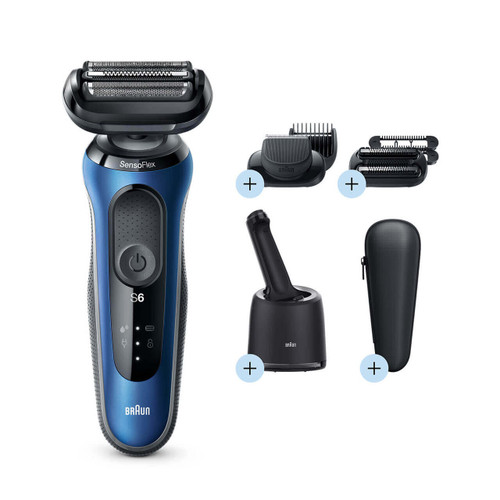 Electric Shaver, Series 6, Blue with SmartCare center, beard and stubble beard trimmer attachments, and travel case, 6090cc