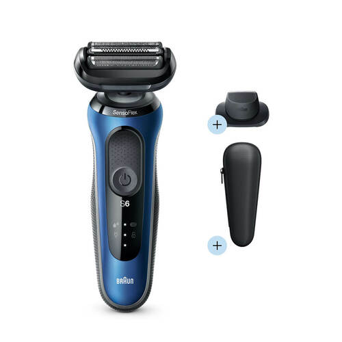 Electric Shaver, Series 6, Blue with precision trimmer attachment and travel case, 6020s