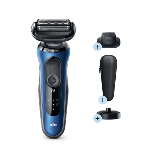 Electric Shaver, Series 6, Blue with precision trimmer attachment, travel case, and charging stand, 6040cs