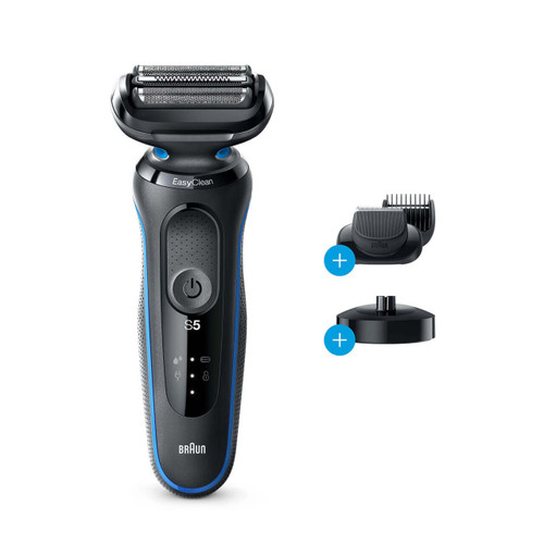 Electric Shaver, Series 5, Blue with beard trimmer attachment and charging stand, 5049cs